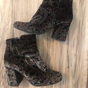 Paisley heeled zip up bootie